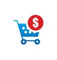 shopping cart money buy logo vector image vector image
