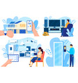 smart house technologies people controlling home vector image vector image