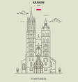 st marys basilica in krakow vector image vector image