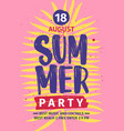summer beach party invitation or poster template vector image vector image