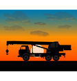 truck crane for lifting of building materials vector image vector image