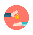 Two Businessmen Money Coin Circle Flat Icon vector image