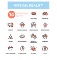 virtual reality - line design icons set vector image vector image