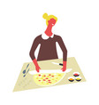 woman in apron cooks food and serves in bowls vector image