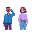 young hipster man and woman wearing trendy outfits vector image