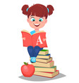 cute girl holding primer and sitting on a stack vector image