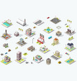 isometric city map collection vector image