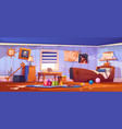 abandoned kids bedroom in pirate style interior vector image