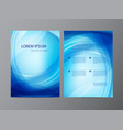 abstract modern wavy blue flowing flyer vector image vector image