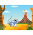 Adorable dinosaur sitting vector image vector image