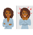 angry and happy african american businesswoman vector image vector image