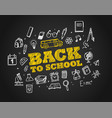 back to school concept hand drawn elements chalk vector image