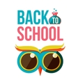 Back to school poster with owl head vector image
