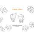 beer and mini salt pretzel hand draw sketch vector image