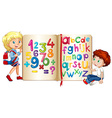 Boy and girl by book of numbers and alphabets vector image