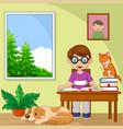 cartoon little boy studying in room vector image vector image