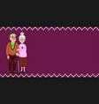 cartoon loving elderly couple on burgundy fabric vector image vector image