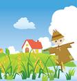 cartoons village scarecrow vector image vector image