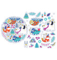 christmas cartoon animal sticker set vector image vector image
