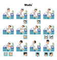 Complete Set of Muslim Wudu or Ablution Guide vector image vector image