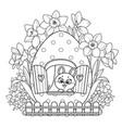 cute cartoon little rabbit looks out window vector image vector image
