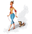 Cute cartoon young woman walking with the dog vector image