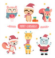 cute happy pastel animal in merry christmas theme vector image vector image