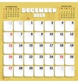 December Month Calendar 2015 vector image vector image