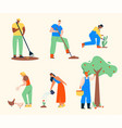 farmers doing agricultural work characters set vector image