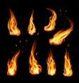 fire campfire isolated torch flame set vector image