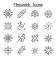 firework icon set in thin line style vector image