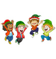 Four boys wearing christmas hats vector image vector image