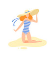 girl in striped swimsuit and straw hat on sitting vector image