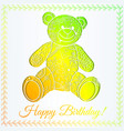 happy birthday card with bear gradient vector image