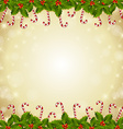 Holly and candy canes Christmas decoration vector image vector image