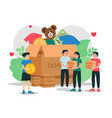 humanitarian aid people donate clothes money vector image vector image