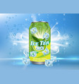 ice tea poster banner design template vector image vector image