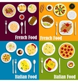 Italy and France cuisine dishes vector image vector image