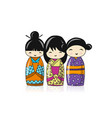 japanese dolls sketch for your design vector image vector image