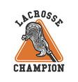 logo design lacrosse champion with lacrosse stick vector image vector image