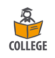logo man with a book for college vector image vector image