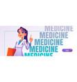 medicine cartoon web banner with doctor in robe vector image