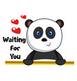 panda waiting love on white background vector image vector image