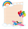 paper template with kid on plane vector image