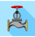 Pipe with a valve icon flat style vector image