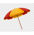 realistic red and yellow beach umbrella isolated vector image vector image