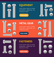 realistic screw different shapes banner horizontal vector image