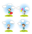 set of boy with speech bubble vector image vector image