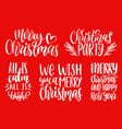 set of new year hand lettering christmas vector image vector image