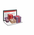 shopping online laptop computer and git box vector image